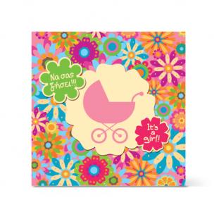 Πολύχρωμη Ευχετήρια Κάρτα για Νεογέννητο Κοριτσάκι