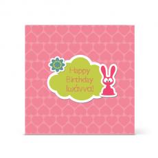 Ροζ Κάρτα Γενεθλίων με Ροζ Λαγουδάκι