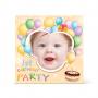 Πρόσκληση με Μπαλόνια για το Πρώτο Πάρτι